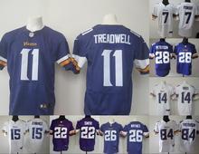 A+++ all stitched Minnesota Vikings #5 Teddy Bridgewater 28 Adrian Peterson HARRISON SMITH Diggs PurpleWhite 11 Laquon Treadwell(China (Mainland))