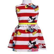 2015 New Baby Kids Girls Princess Party Dress Cartoon  Mouse Stripe Summer Dress 2-7Y(China (Mainland))