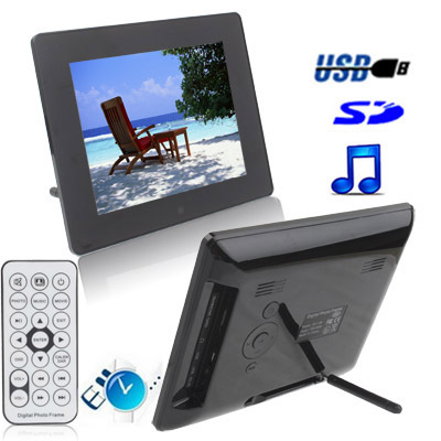 High Quality 8 inch Digital Picture Frame with Remote Control Support SD / MMC / MS Card and USB (8006B)(Black)<br><br>Aliexpress
