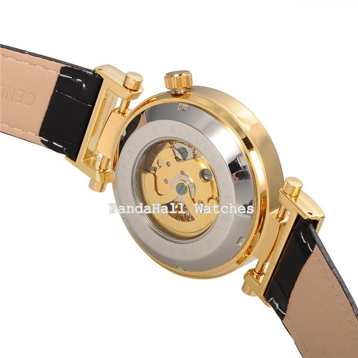 Orkina Марка Часы Из Нержавеющей Стали Мужчины Кожаный Часы Скелет Механическая Бизнес Наручные Часы Для Мужчин с Коробкой