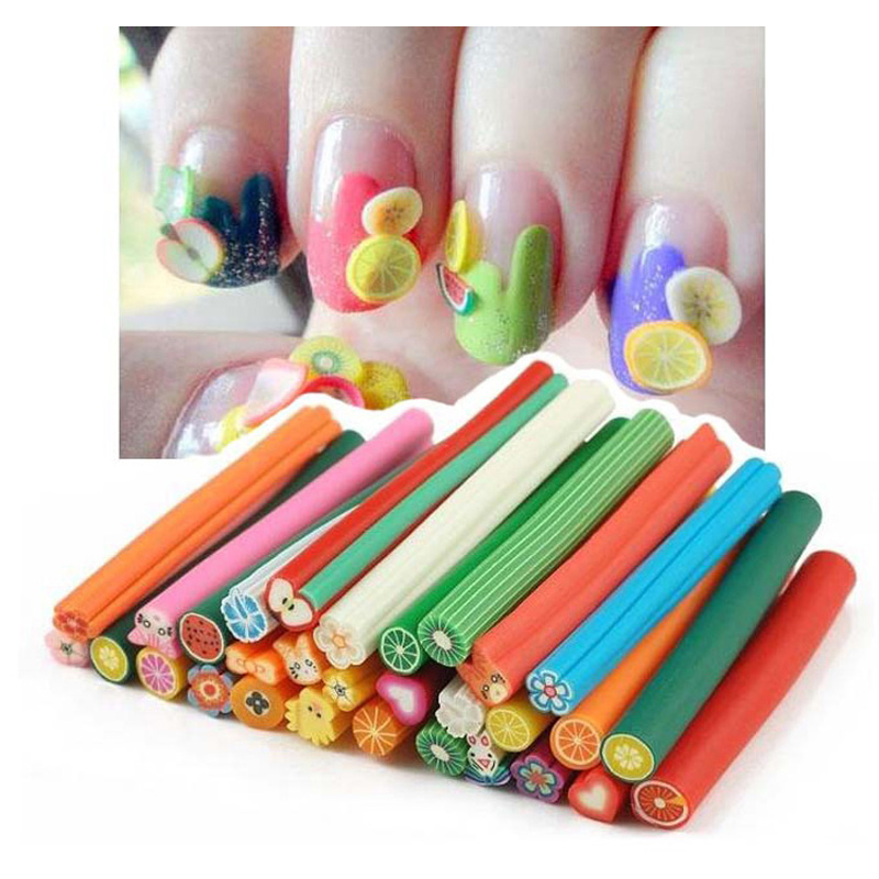 10PCS Cane Polymer Clay Nail Art Stickers 3D Fruit And Flower Cutted Rolls Stamp Decal Tip Cute Printer DIY Fruit Decal(China (Mainland))