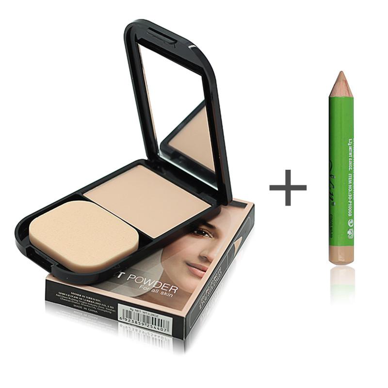 Face Foundation Base Makeup Matte Studio Fix Pressed Powder Palette + Concealer Pencil Pen + Puff Contour Nude Compact Powder(China (Mainland))