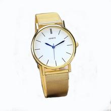 New 2016 relogio feminino Luxury Brand Watches Women Laides Gold Plated Stainless Steel Band Quartz Wrist Watches colck GENEVE