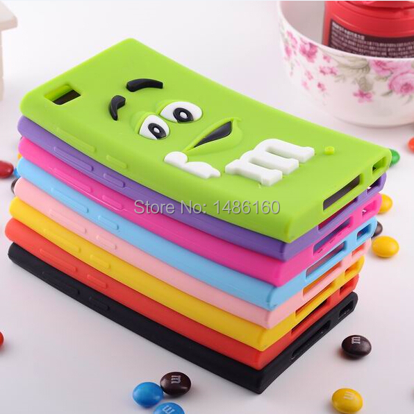 50pcs/lot Colorful Cute M&M Chocolate Candy Color Rainbow Bean Designer Silicone Case For Xiaomi Mi3 M3, Free shipping