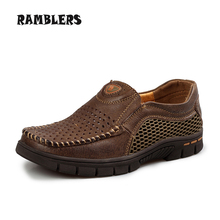 Summer Style Breathable Genuine Leather Shoes For Men Slip On Soft Slip On Flat Shoes High Quality Men Casual Shoes Size 39-44