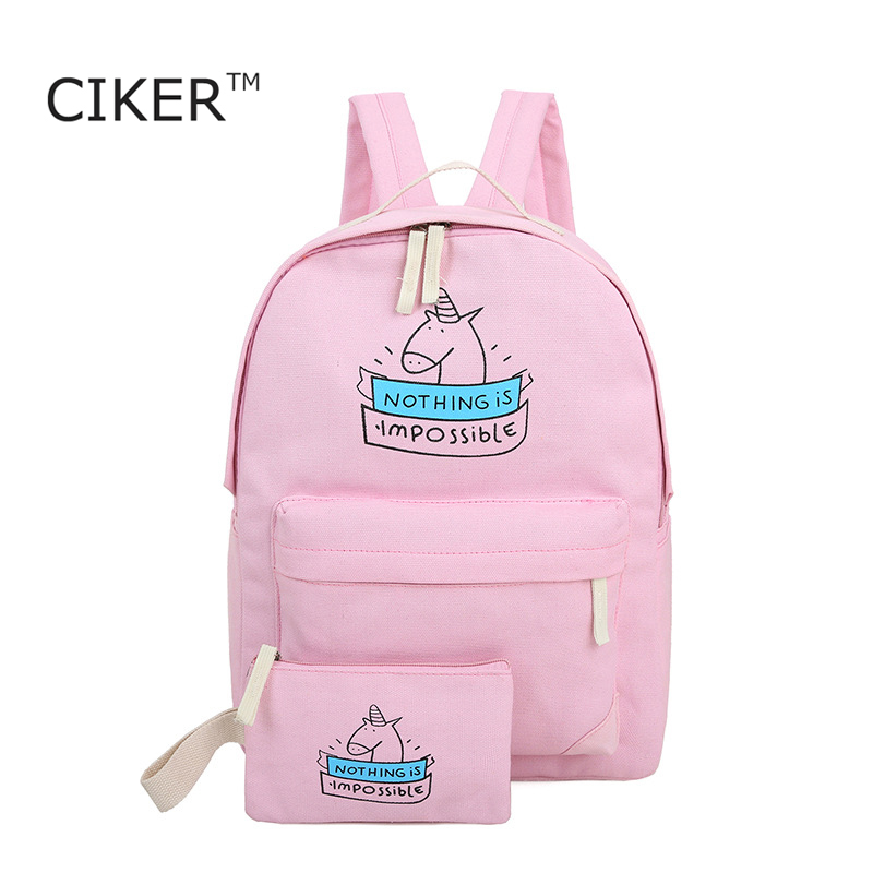 CIKER women canvas backpack fashion cute travel bags printing backpacks 2pcs/set new style laptop backpack for teenage girls(China (Mainland))
