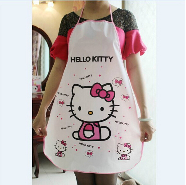 Kawaii Hello Kitty Kitchen Apron Women Pinafore Kitchen Cooking Pinafores Aprons Waterproof 70*50cm(China (Mainland))
