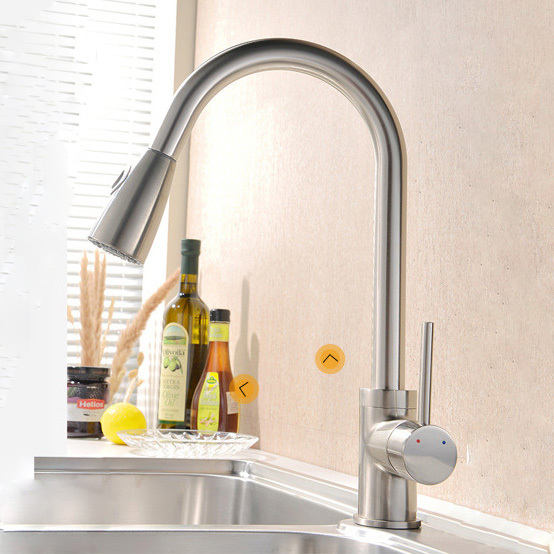 Фотография Solid Brass Kitchen Sink Faucet Kitchen Mixer Pull Out Single Hole Faucet Kitchen torneiras para pia cozinha