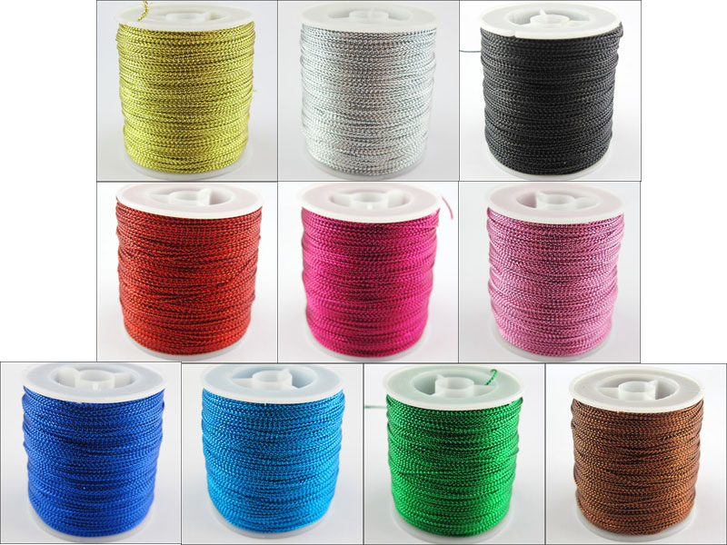 Free Shipping 100m/Roll Metallic Cord Yards Each Perfect For Sewing Craft Embroidery 1mm Width 10Colors -1(China (Mainland))