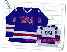 High Quality! 1980 Miracle On Ice Team USA 17 Jack O'Callahan Pullover 21 Mike Eruzione 30 Jim Craig Blue/White Hockey Jerseys(China (Mainland))