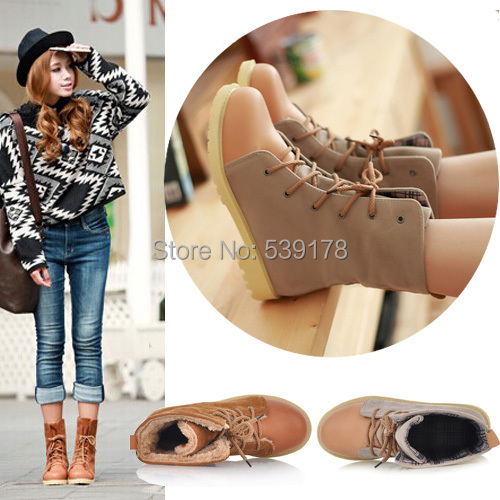 Autumn and winter women boots 2015 brand fashion winter boots flat heel cow muscle outsole snow boots women ankle boots(China (Mainland))