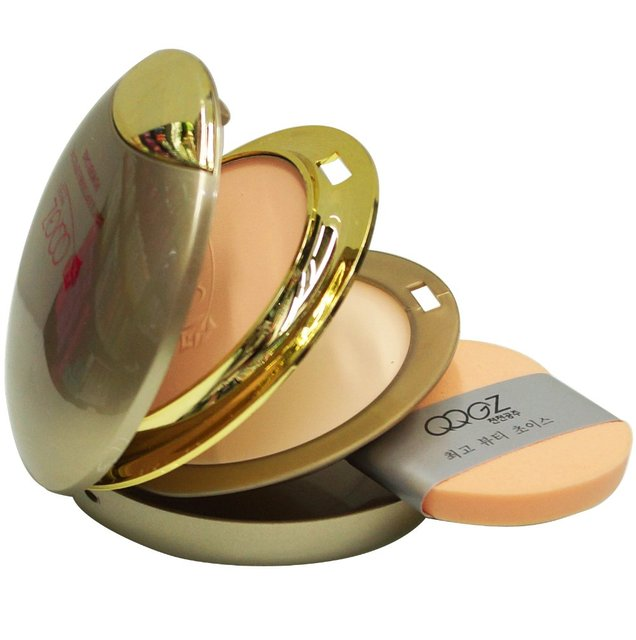 Retail fashion cosmetic makeup Golden light & soft double effective Powder Foundation with makeup mirror & puff