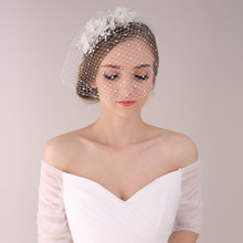 Beaded Bridal Veil with Flowers 2015 Best Selling Bridal Flower Hair Accessory Wedding Hair Accessories Bridal Headwear(China (Mainland))