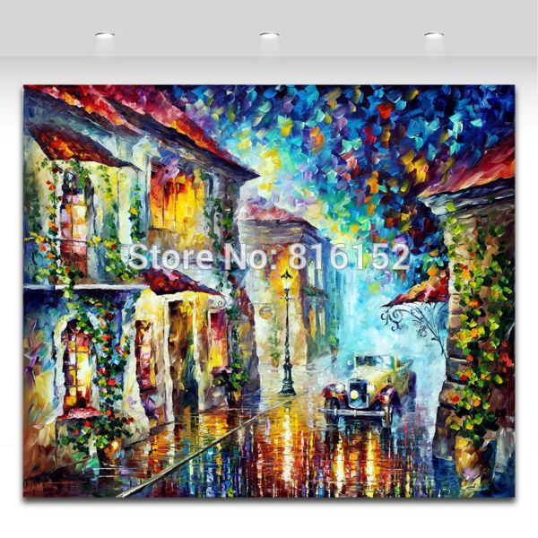 Buy Greek Night-100% Hand-painted Palette Knife Painting Modern Canvas Wall Picture for Living Room Bedroom Decor cheap