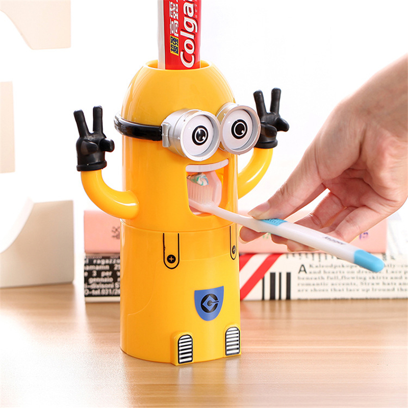 Eco-Friendly minion toothpaste dispenser bathroom accessories automatic toothpaste dispenser toothbrush holder Bathroom Set Cup(China (Mainland))