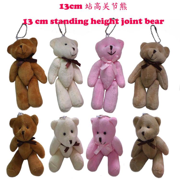 Wholesale H=13cm Cartoon Joint/Bow Mini Teddy Bear Plush Pendants Toys/Dolls For Key Chain/Cell phone/Bag/Bouquet 4Color(China (Mainland))