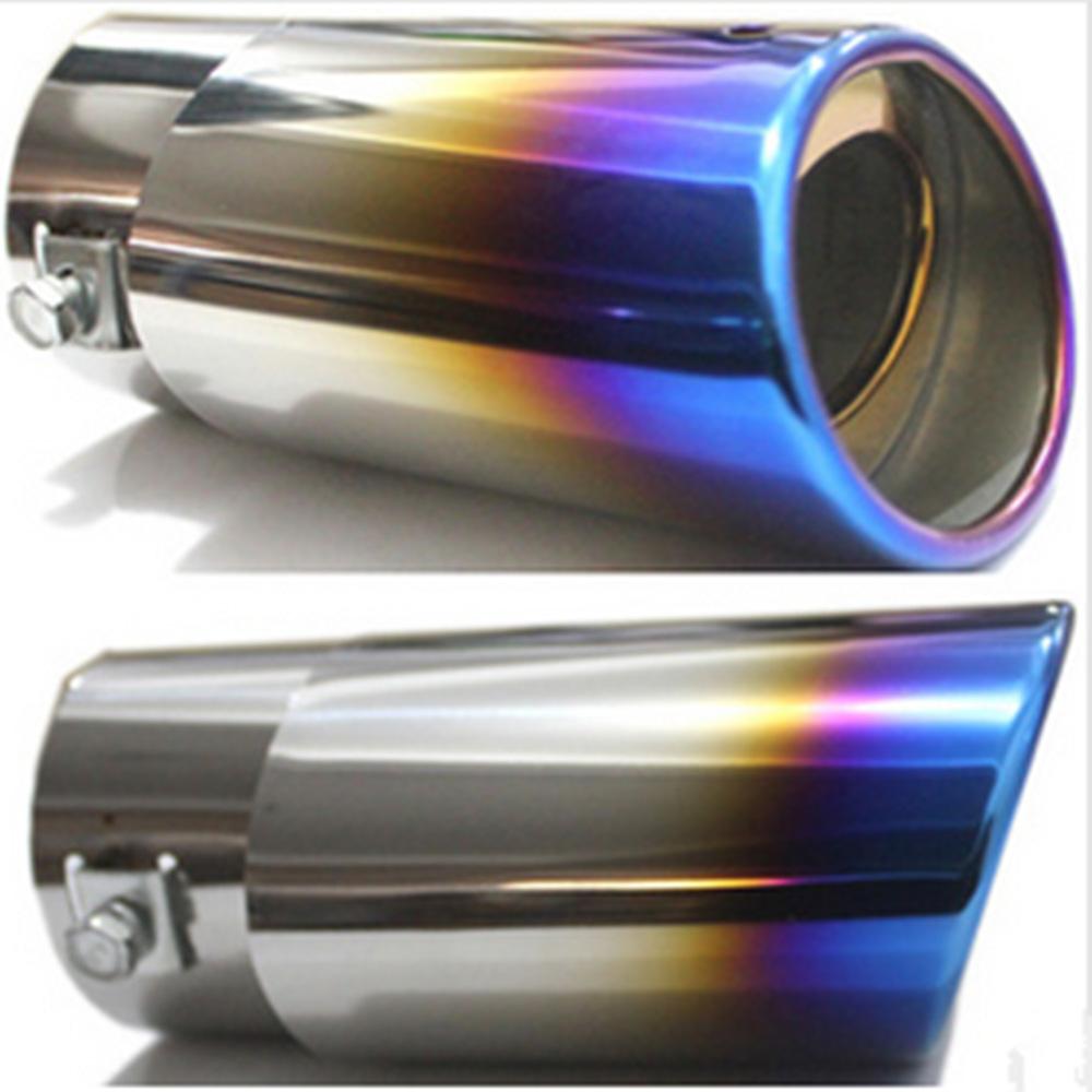 "Universal Car Exhaust Muffler Tip Tail Pipe Silencer 2.5"" Inner Diameter Noise Deadener Titanium Blue Silver Tone(China (Mainland))"