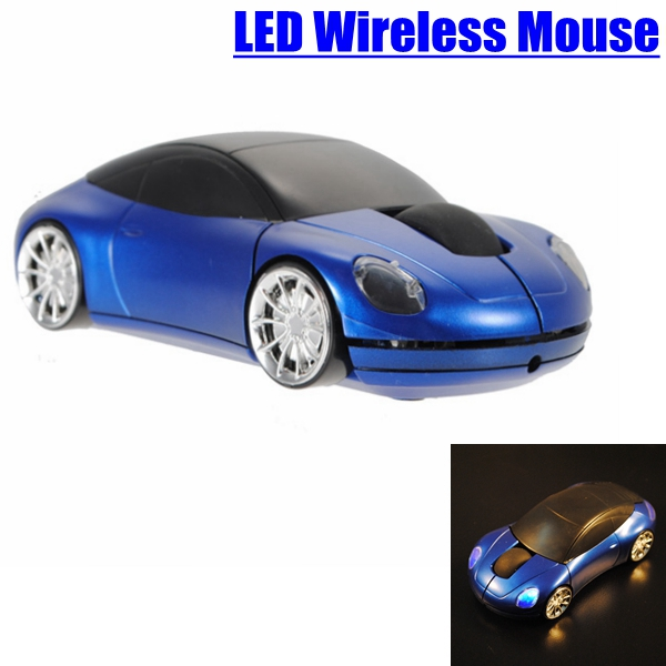 Blue 3D Car Shaped 2.4G Wireless 1600DPI USB Car Shaped Optical Mouse Mice For Computer laptop Notebook(China (Mainland))