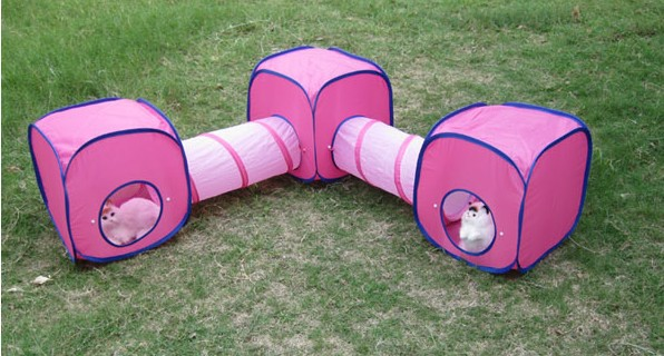 Free Shipping Dogs Cats 2 Tunnels+3 Tents Set Pets Triangle Play Crossing Portable Tube w/ 3 Camps(China (Mainland))