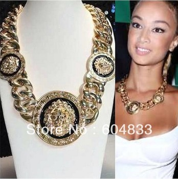 (min order $10 mixed order)Hot!2013 Women Gold/Black Three Lion Head Chunky Chain Link Necklace