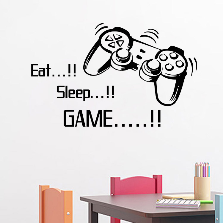 Eat Sleep Game vinyl wall art stickers gamer xbox ps3 Boys Bedroom Letter Quotes Home Decoration Wall Mural(China (Mainland))