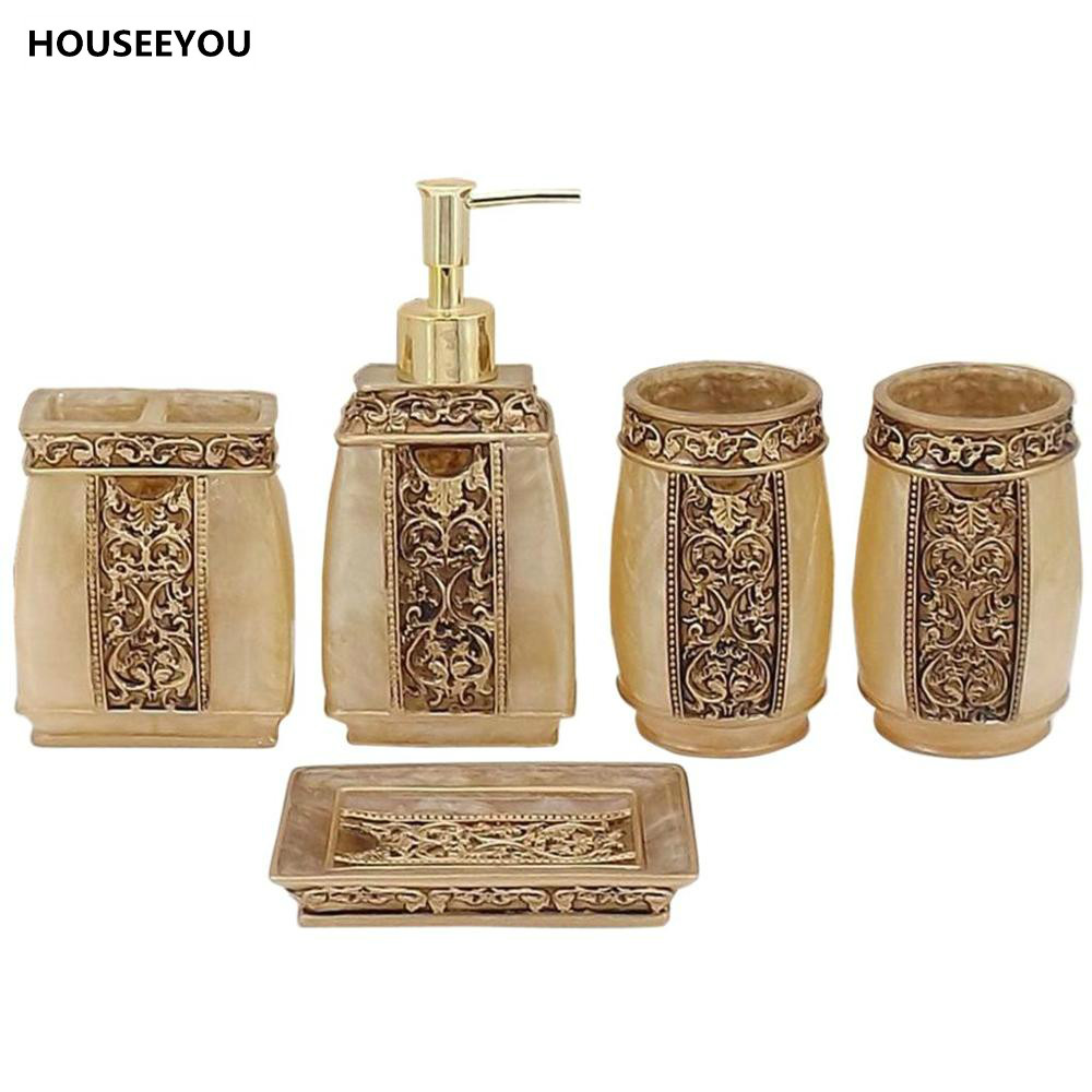 Popular resin bath accessories buy cheap resin bath for Cream bathroom accessories set