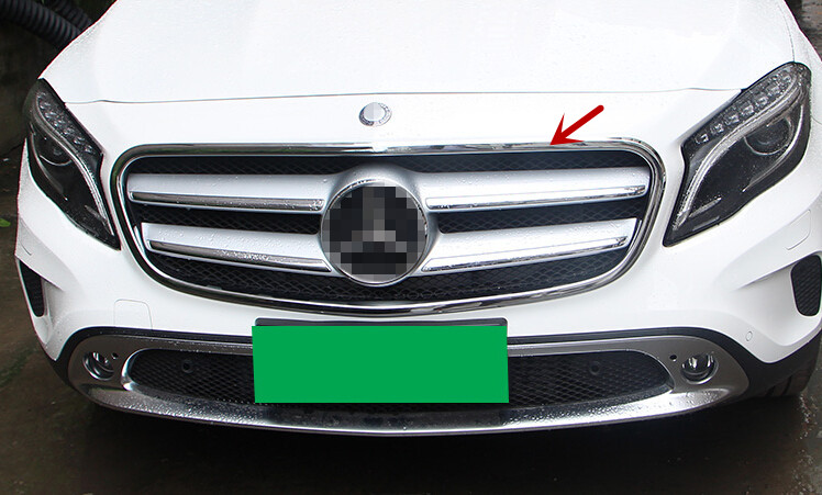 For Mercedes Benz GLA X156 2014 2015 ABS Chrome Front Center Grille Grill Frame Trim 1pcs Glossy