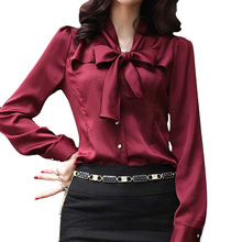 Buy SETWIGG 2017 Spring Korean Womens Sleeve OL Blouses & Shirts Neck Bow Long Sleeved Female Elegant Satin Top Shirt & Blouse for $14.83 in AliExpress store