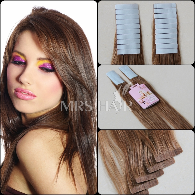 "6# human tape hair extensions 18"" 20"" 22""24'' AAAAA High Quality brazilian straight medium brown 20pcs pu skin weft remy hair(China (Mainland))"