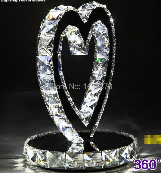 Heart shape LED crystal Table Lamps bedroom nightstand wedding upscale decorative lights(China (Mainland))