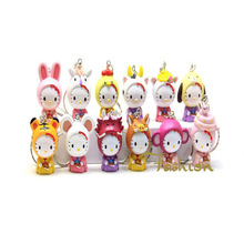 12PCS Japan Anime Hello Kitty Toy Figures Keychain Cats Cos Animal Styles Action Figure Keychain Models Juguetes KidsToy Gifts