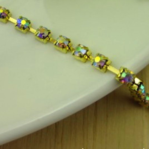 SS8.0 (2.3mm) Crystal AB Rhinestone Cup Chain Trim Glass Square Base Metal 20 Yards - Rhinestones of Paradise Jewelry store