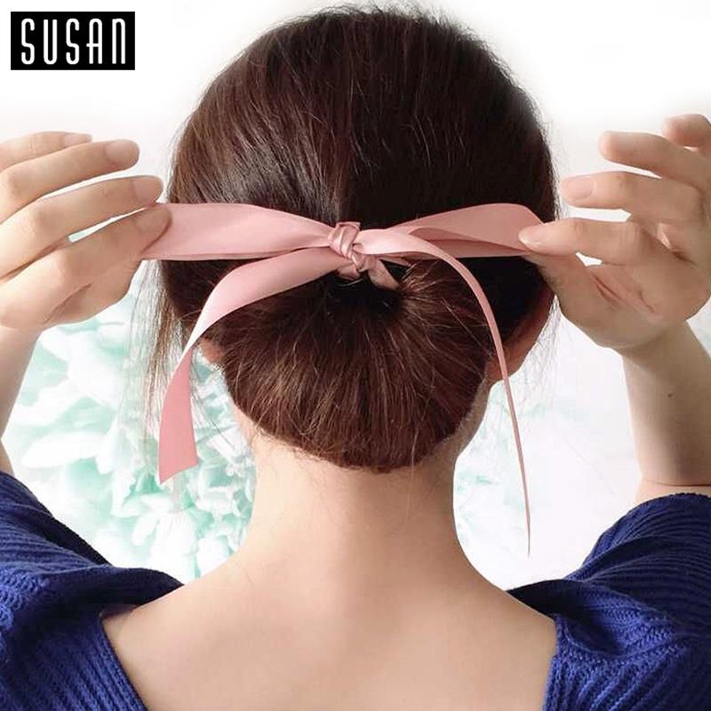 Susan' Fashion Magic Tools Foam Sponge Messy Donut Bun Hairstyle Bows Headwear Elastic Hair Band Accessories for Women Lady Girl(China (Mainland))