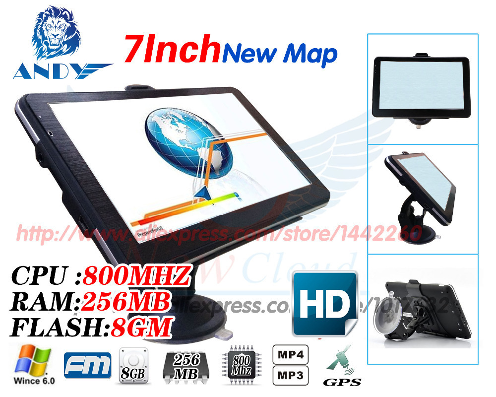 New 7 inch HD Car GPS Navigation 800M/ FM/8GB/256MB2014 Maps For Russia/Belarus/Kazakhstan Europe/USA+Canada TRUCK Navigator(China (Mainland))