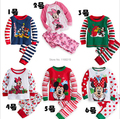 2016 Christmas clothes set children stripe suit set girl boy pijamas long sleeve T shirt pants