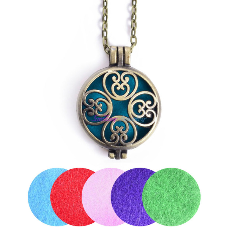 "1pc 28"" Chain Pads Vintage Bronze Aromatherapy Lockets Pendants Essential Oil Diffuser Locket Perfume Personalized Necklaces"
