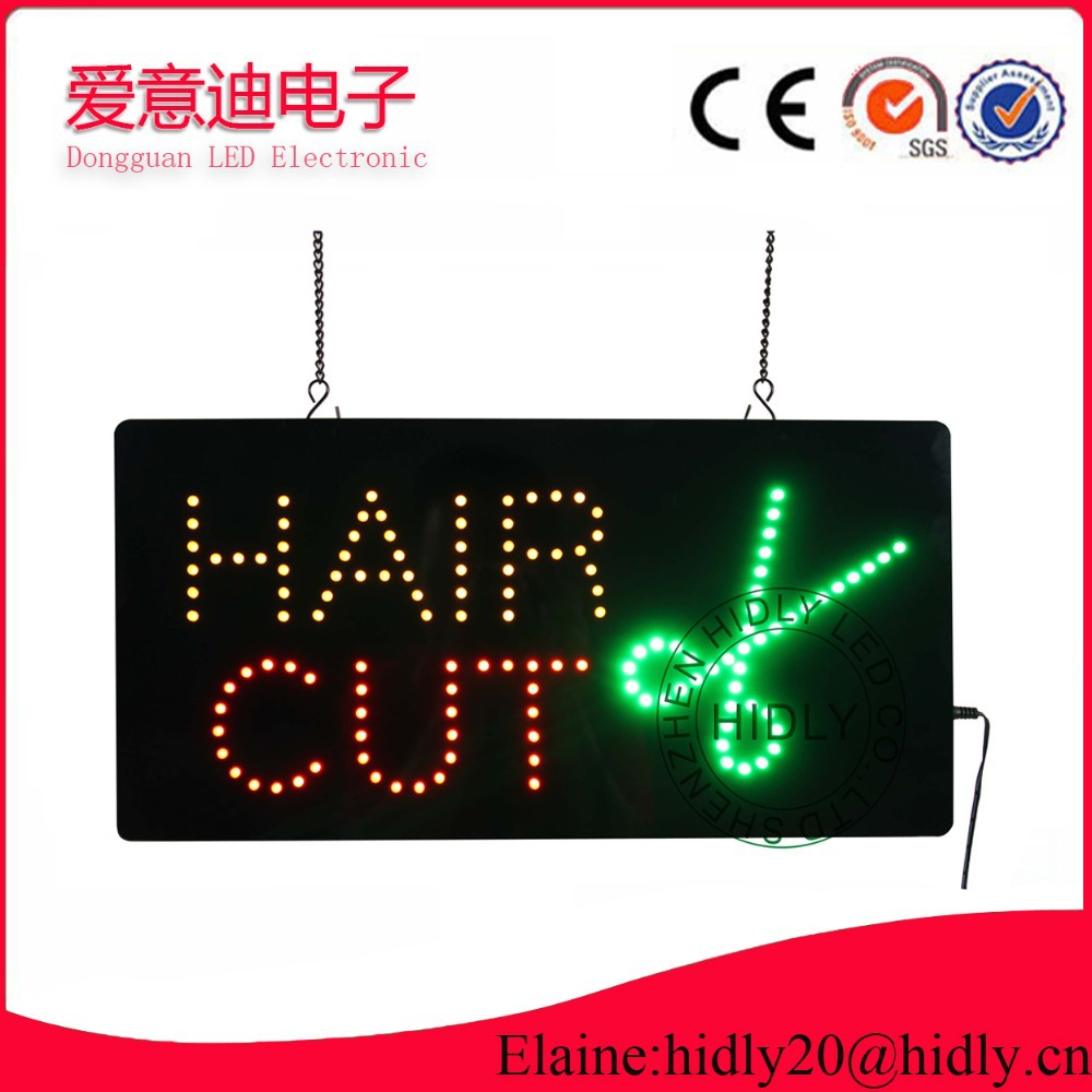 Wholesale 9*19inch HAIR CUT neon letter sign/ DC12V led mini display /Indoor window usage electronic display/led sign(China (Mainland))
