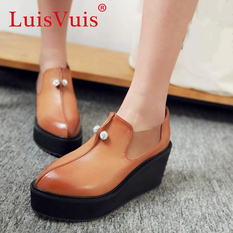 women fashion leisure pumps pointed toe platform footwear appliques new stylish heeled heels shoes  P23099 size 32-42 от Aliexpress INT