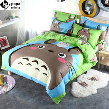 Brand Grey totoro cartoon kids bedding set 3/4pcs 100%cotton duvet cover set bed sheet linen quilt bedclothes pillowcase set(China (Mainland))