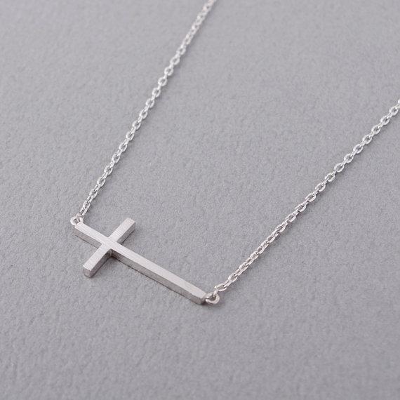 Sideways Cross Necklace In Silver.jpg