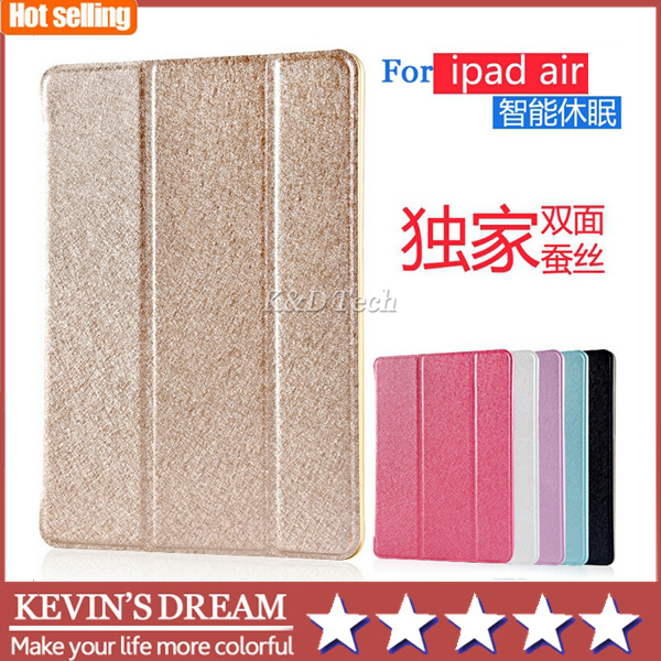 New Arrival For Apple iPad Air 5 Cases Ultra Slim 3-Folding Cover Super-Thin Silk Pattern Tablet Case Free Shipping(China (Mainland))