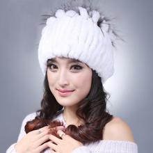 Новое поступление 100% реального кролика меховые шапки женские полосы ручной рекс кролика шапочки зима меховая шапка мягкий теплый бесплатная доставка YH036
