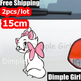 2pcs Girlfriend Gift Novelty Automobiles Motorcycles Exterior Marie Cat Stickers For Car Accessories On The Window