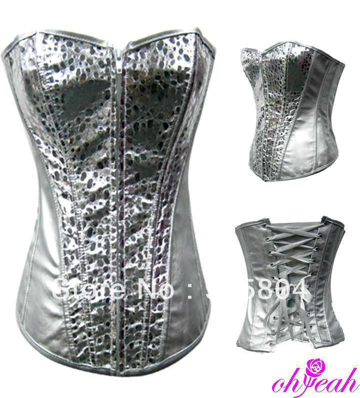 A2797 New arrival cheap body shaper fanx leather ann chery body shaper sheer silver comfortable corsets for slimming(China (Mainland))