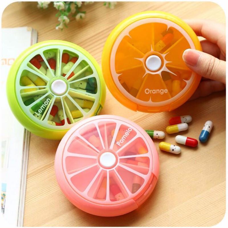 2016 Hot Selling Portable Rotatin Pillbox Pill Container medicine box Medicine Pill Vitamin Box Case Storage Fruit Shape(China (Mainland))