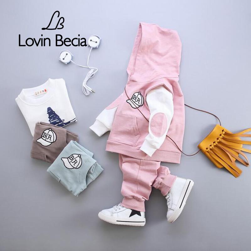 LOVIN BECIA 3 pcs / set costume coat with hat children Baseball clothing for kids a toddler girls boy baby denim T shirt + Pants(China (Mainland))