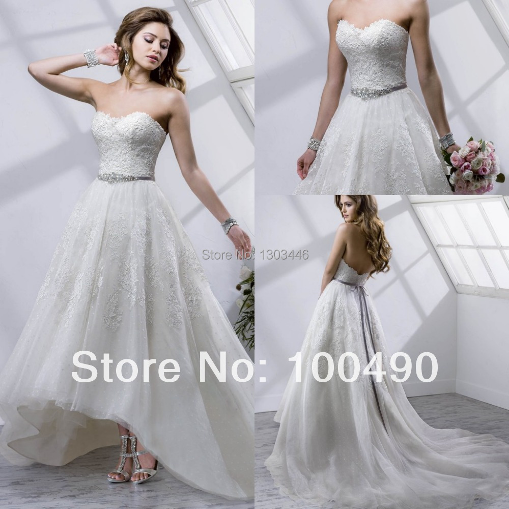 2015Short front long train Macie wedding dresses high-low tea-length Venice lace with rhinestone sashes detachable bridal gown(China (Mainland))