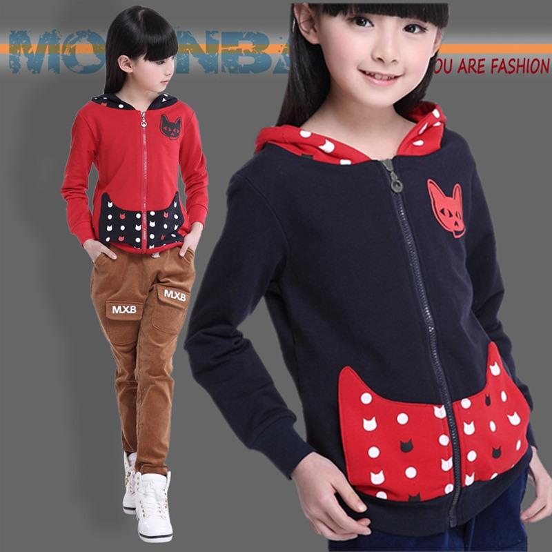 2015 cool zipper girls hoodies sweatshirts solid pure cotton cat  kids hoodies girls sweatshirt  for 6-14yrs kid free shipping(China (Mainland))