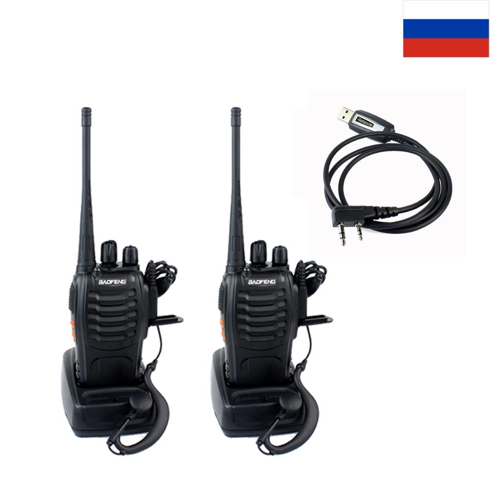 1 Pair Baofeng 888S Walkie Talkie 5W 16CH Two Way Radio Portable Radio Ham Interphone 888S+Programming Cable RU Local Ship
