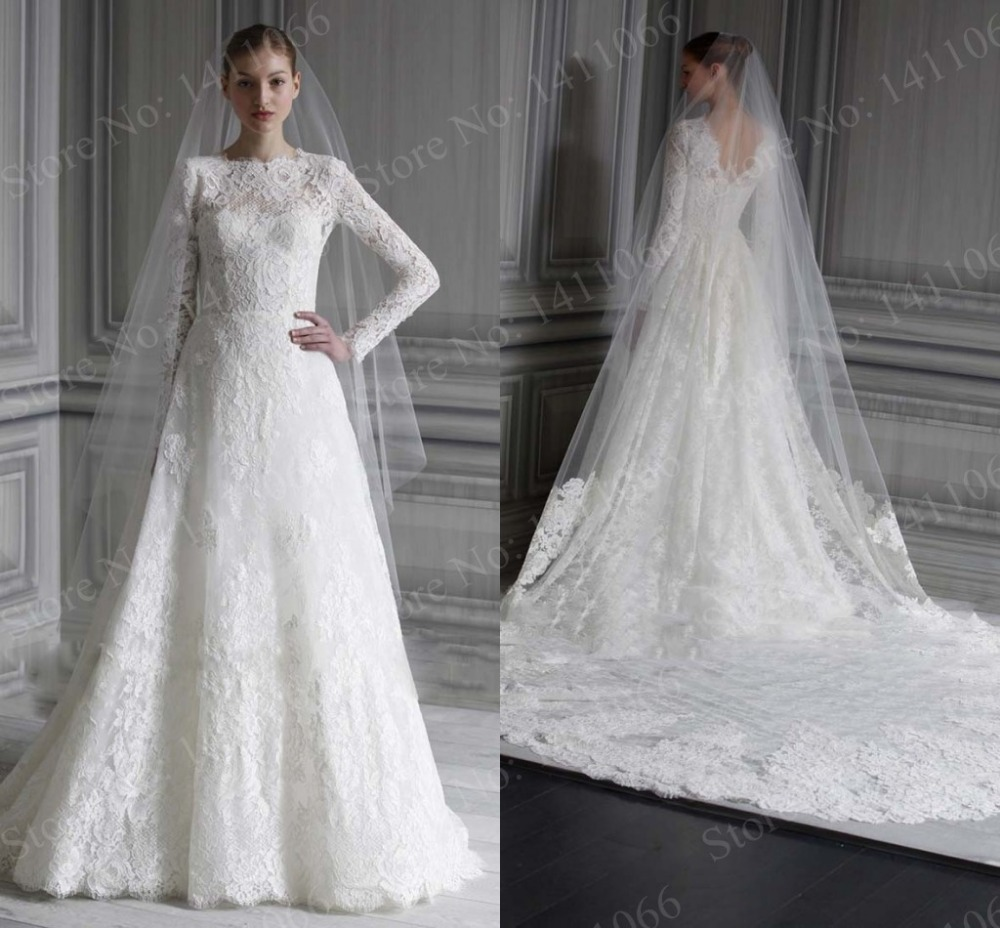 White A Line Wedding Dresses : New fashionable sexy a line scoop long sleeve lace wedding